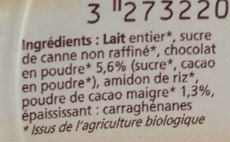 Dessert au chocolat - Ingrédients - fr