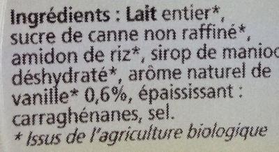 Dessert à la vanille - Ingrédients - fr