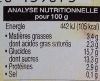 Dessert à la vanille - Informations nutritionnelles - fr