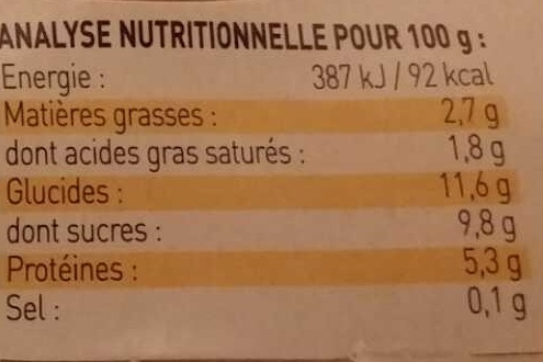 Yaourt de Brebis saveur Citron - Nutrition facts