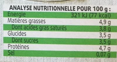 La Chevrerie - Nutrition facts