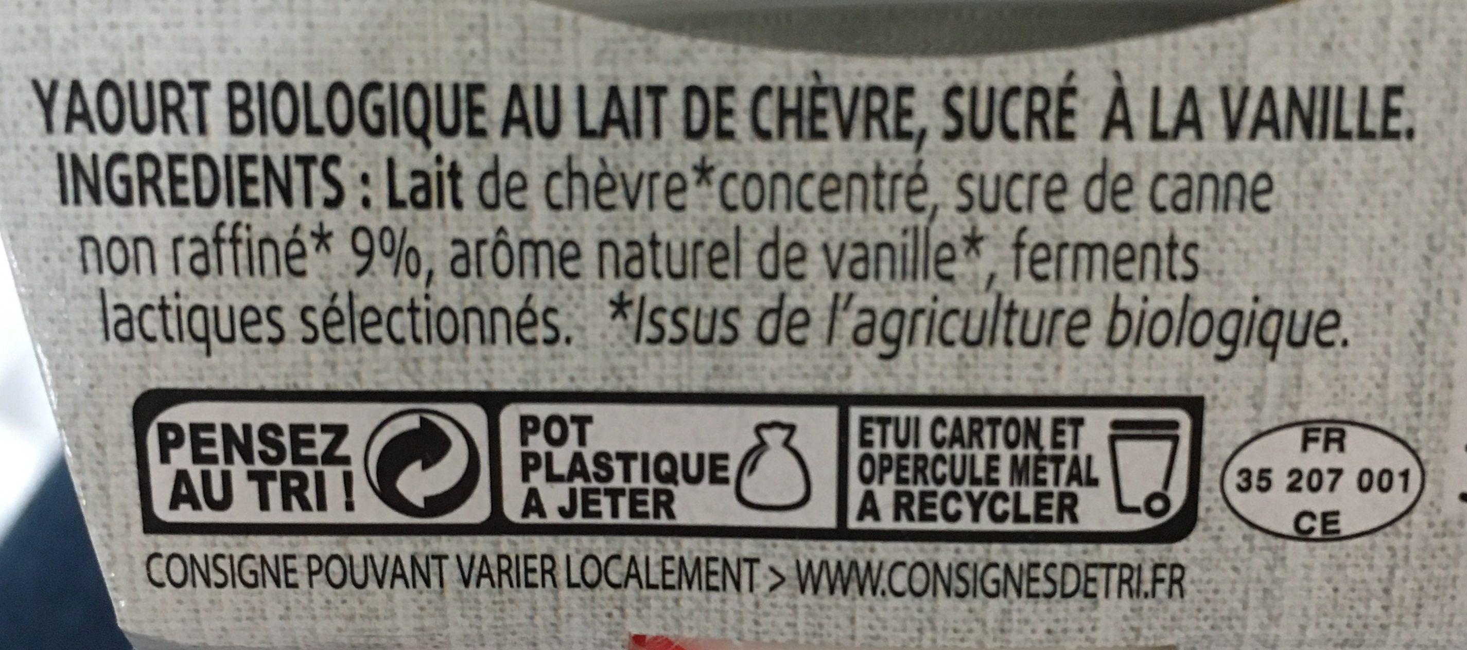 Yaourt De Chevre Vanille 2 x - Ingrédients - fr