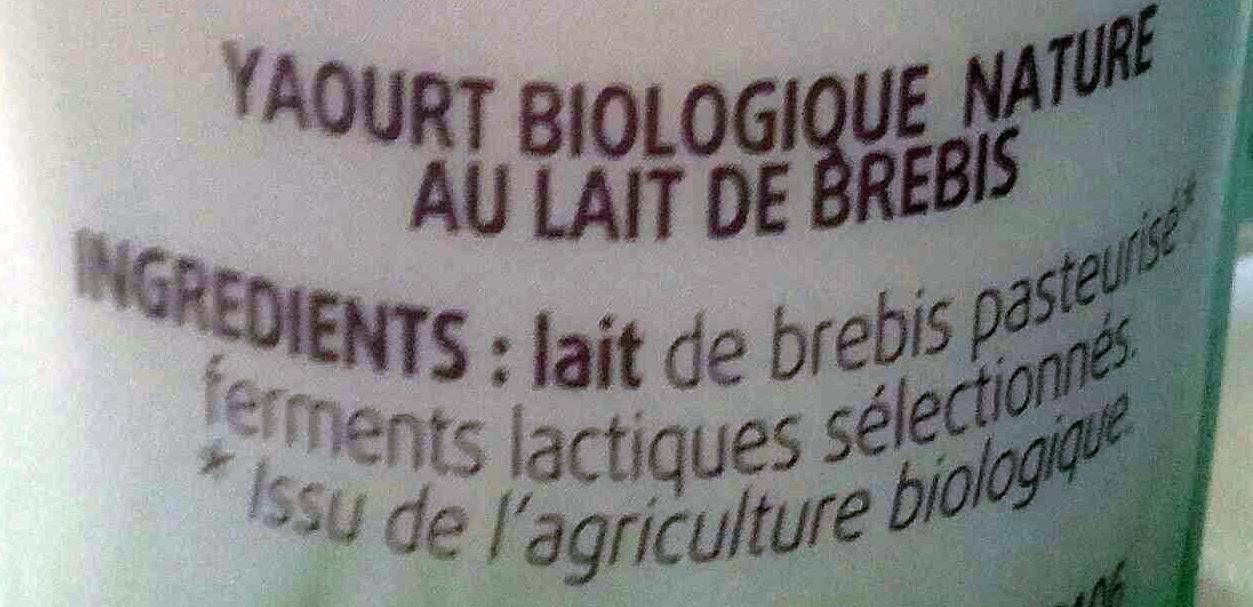 Yaourt nature au lait de brebis - Ingredients