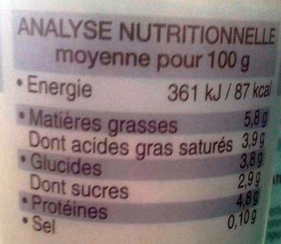 Yaourt nature au lait de brebis - Nutrition facts