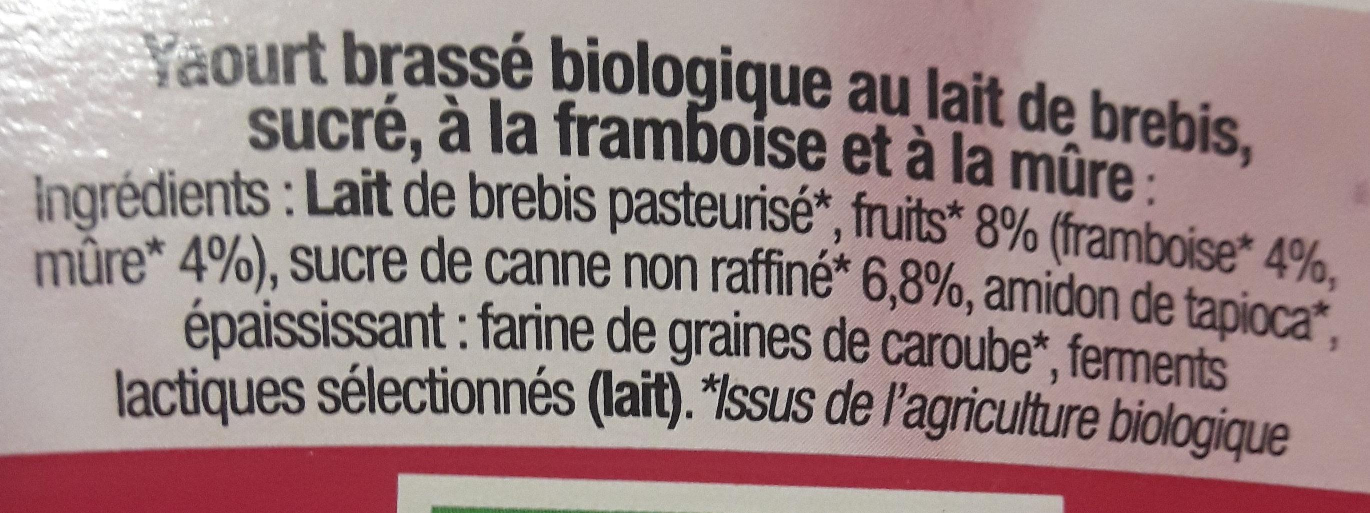 Brassé framboise mûre - Ingredients