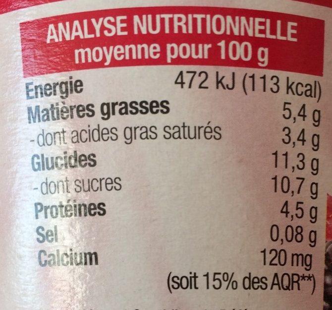 Brassé framboise mûre - Nutrition facts