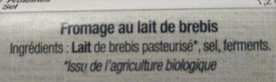 Fromage affiné au lait de brebis - Ingrédients - fr