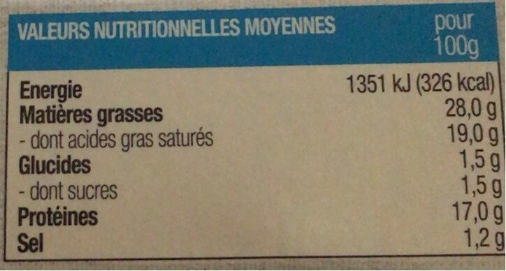 Fromage affiné au lait de brebis - Informations nutritionnelles - fr