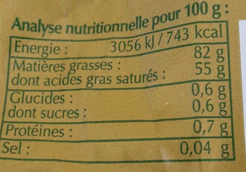 Beurre de Baratte Doux - Informations nutritionnelles - fr