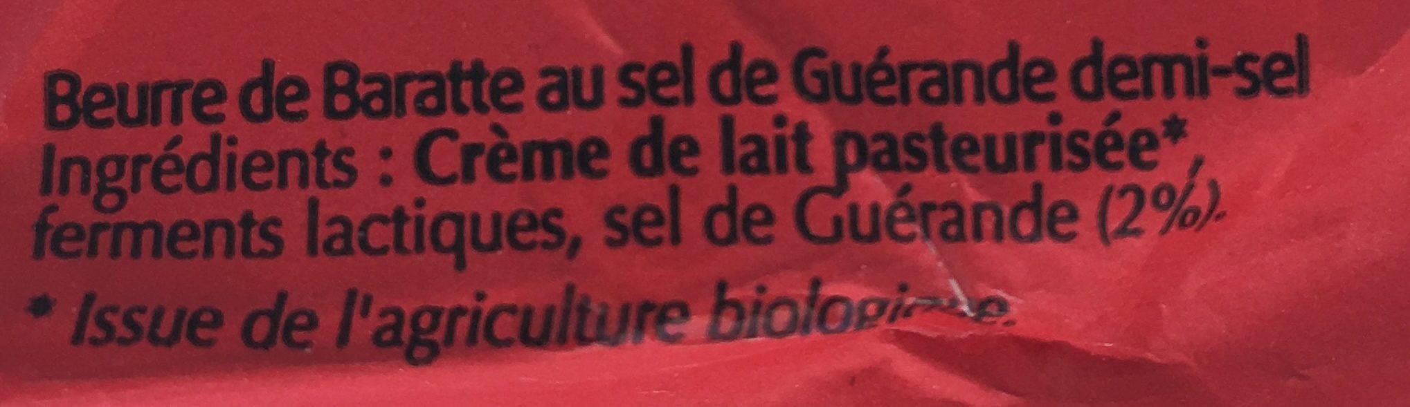 Beurre de Baratte Demi Sel - Ingrédients - fr