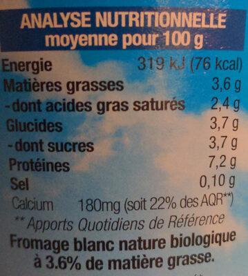 Fromage blanc Tante Hélène - Nutrition facts - fr