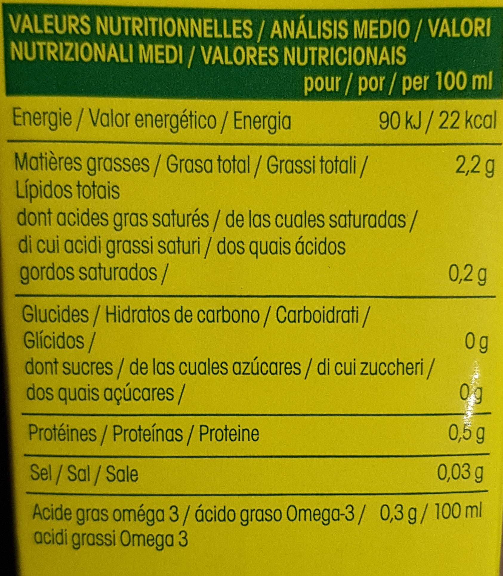 So chanvre nature - Nutrition facts