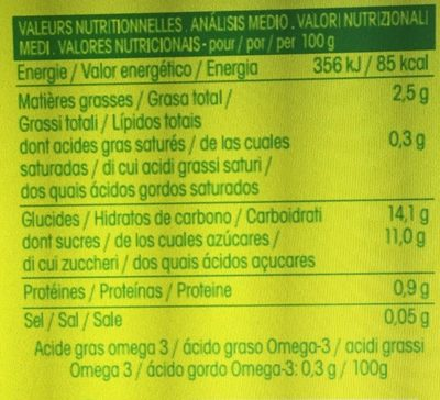 Délice de chanvre Framboise fraise - Informations nutritionnelles