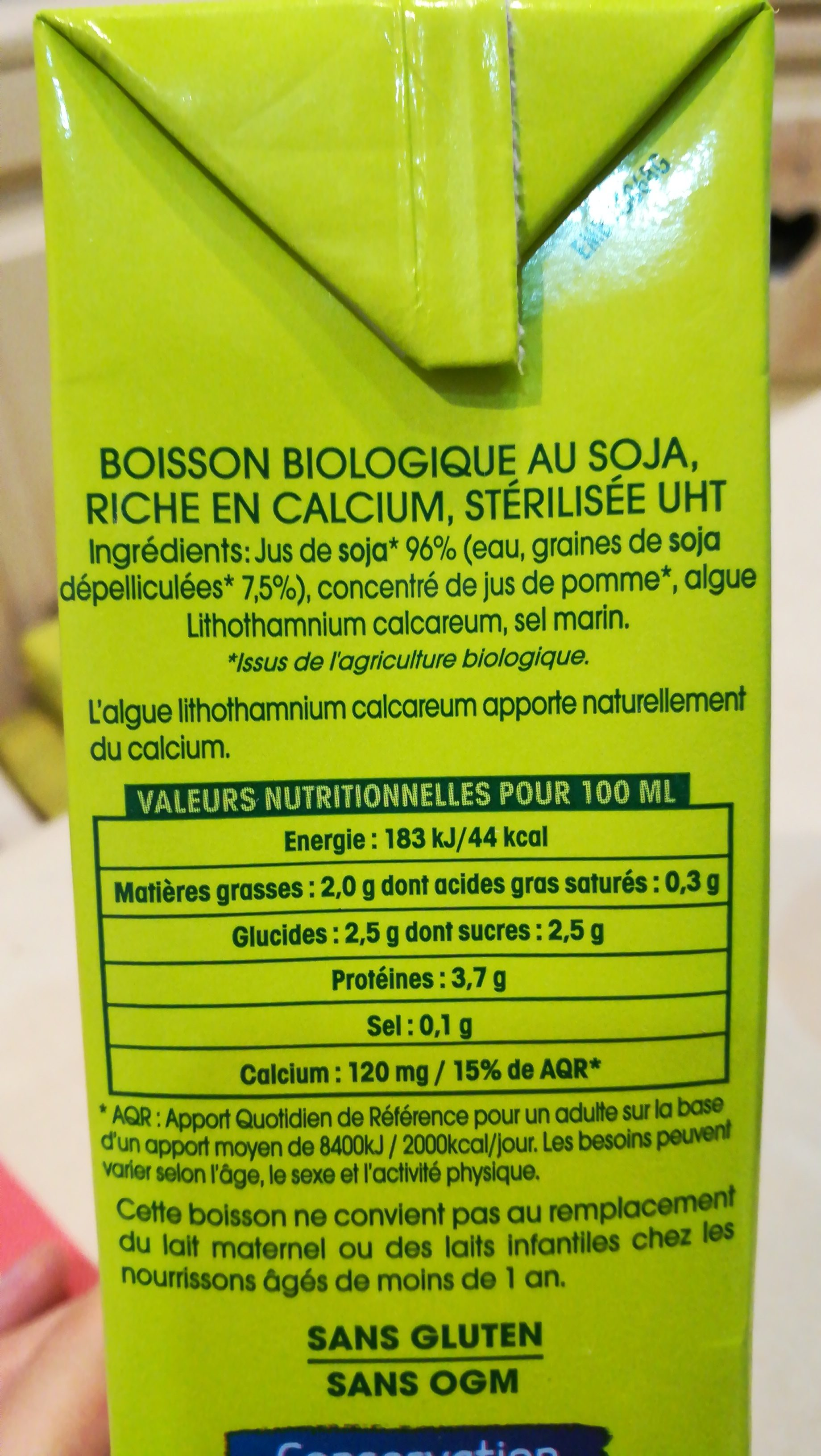 Boisson Sojade Calcium - Ingredients - fr