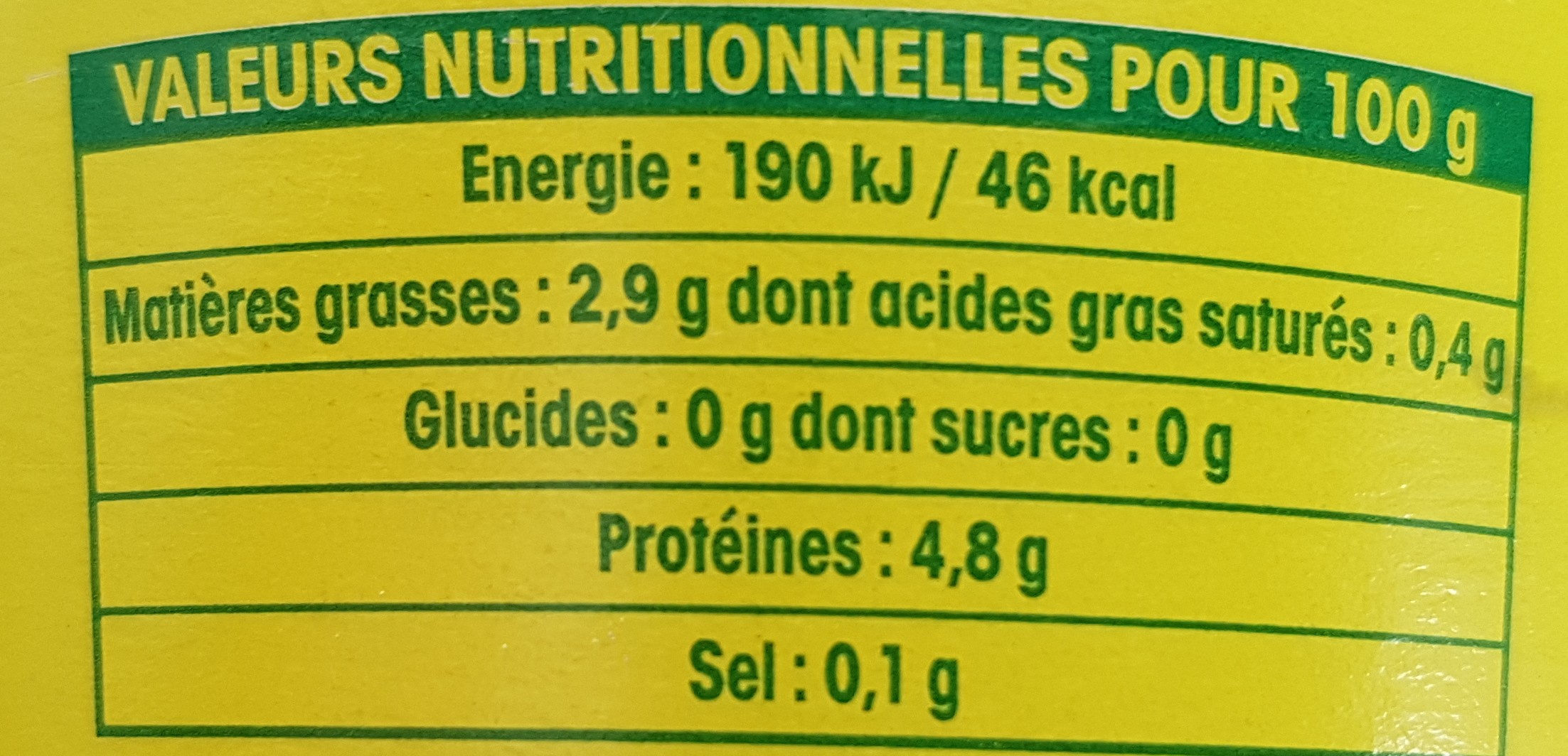 Sojade - nature - Informations nutritionnelles