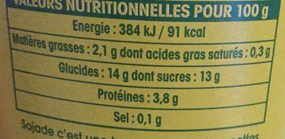 Spécialité au soja, Banane - Nutrition facts