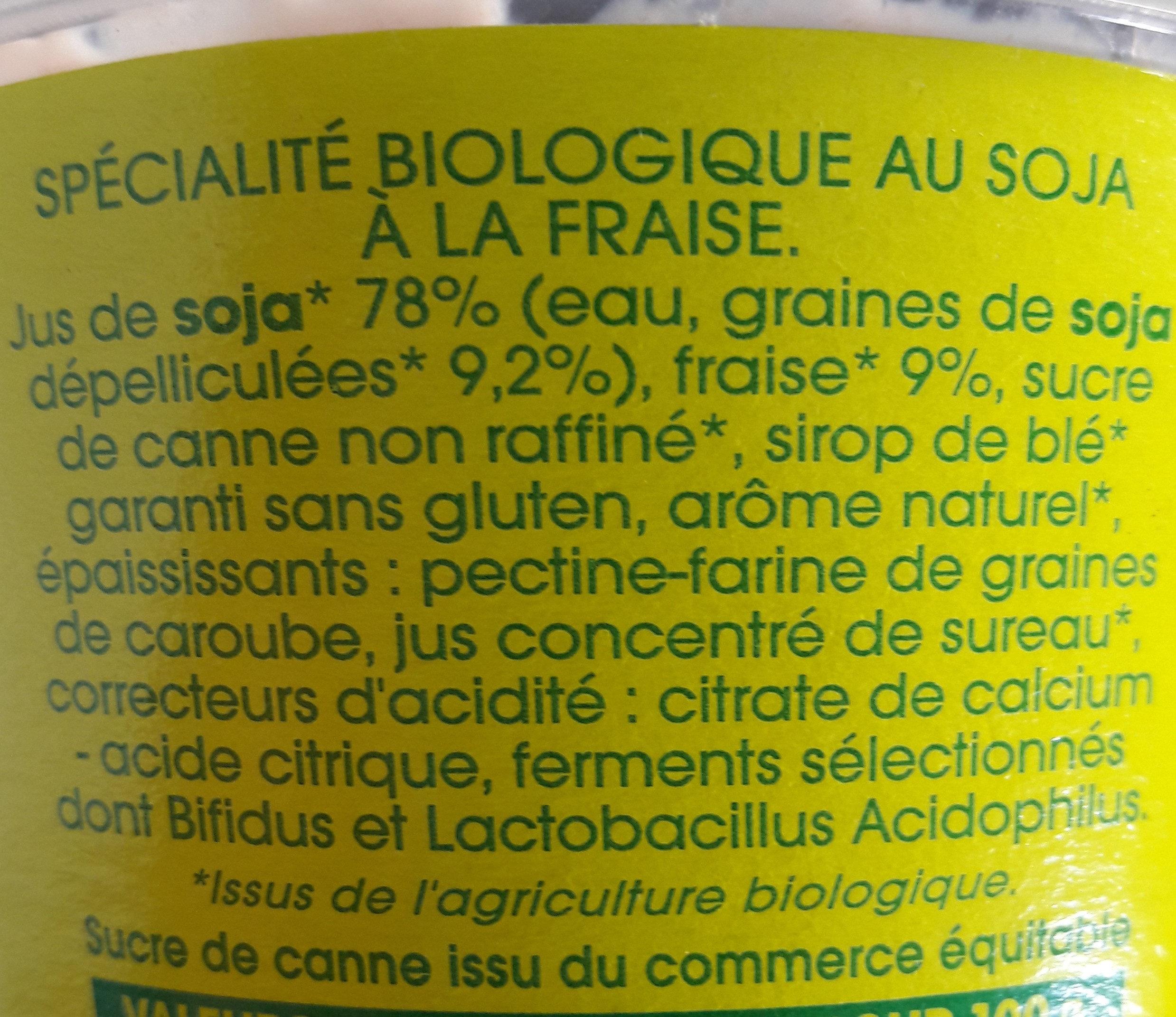 Spécialité au soja, Fraise - Ingrédients - fr