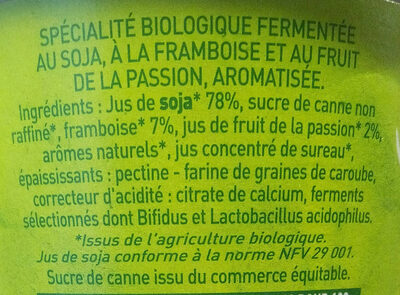 Yaourt au soja Framboise-Passion - Ingrediënten