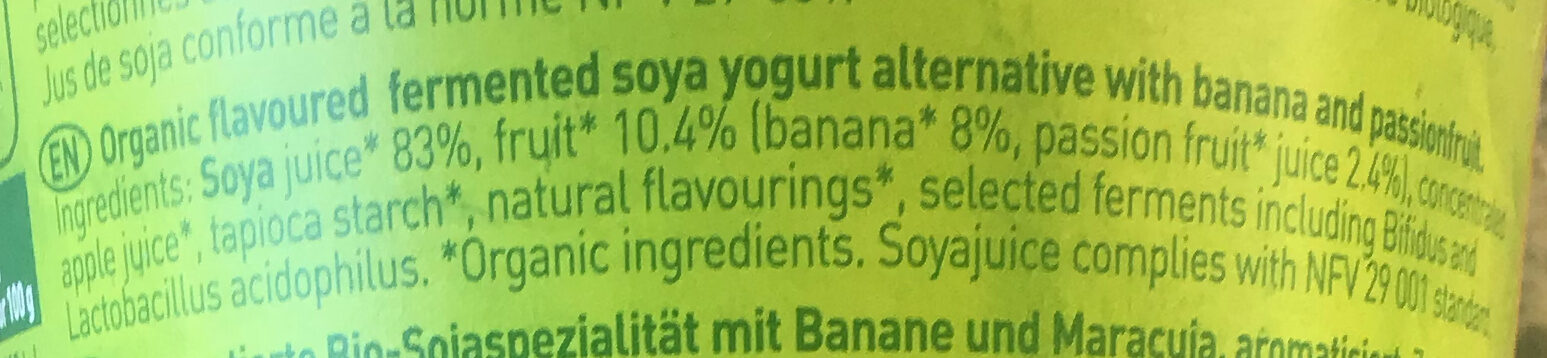 So soja banane passion - Ingredients - en