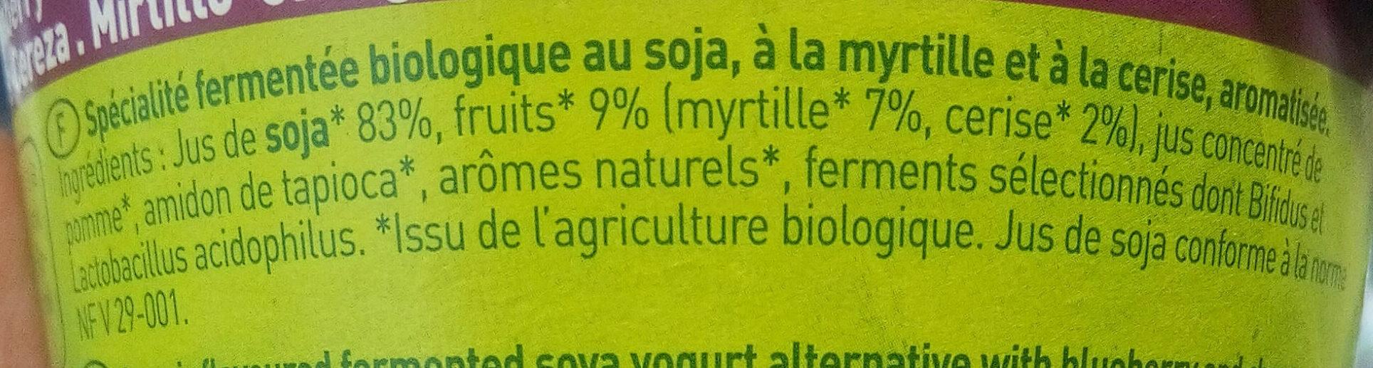 So soja ! Myrtille cerise - Ingredienti - fr