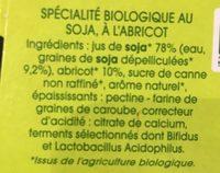 SOJADE ABRICOT BIFIDUS - Ingrédients
