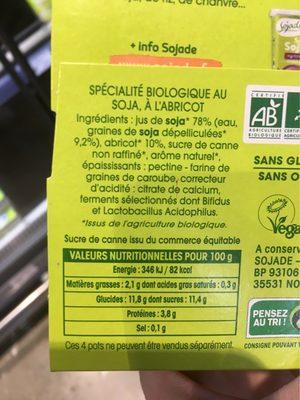 SOJADE ABRICOT BIFIDUS - Informations nutritionnelles