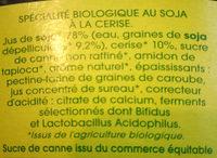 Spécialité au soja, Cerise - Ingredients - fr