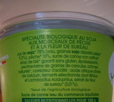 Spécialité au soja, Pêche Fleur de Sureau - Nutrition facts - fr