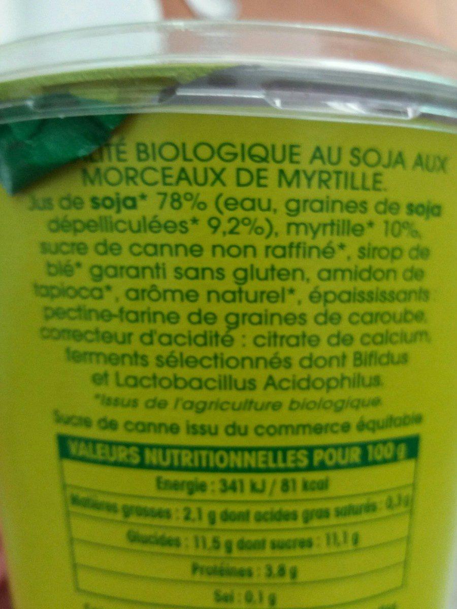 Soja myrtille - Ingrédients