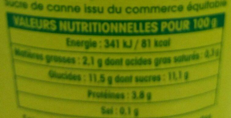 Soja myrtille - Informations nutritionnelles - fr