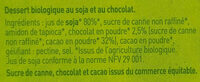 Dessert au soja, Chocolat - Ingrédients - fr