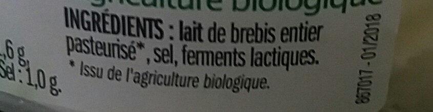 Fromage Petit Brebis - Ingredients - fr