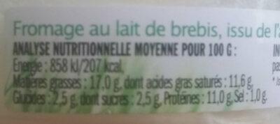Fromage Petit Brebis - Nutrition facts - en