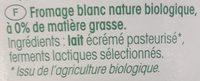 Fromage Blanc Bio 0% - Ingrediënten