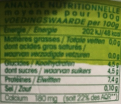 Fromage Blanc 0% Bio - Informations nutritionnelles