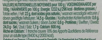 Tranches moelleuses de fromage bio - Voedingswaarden