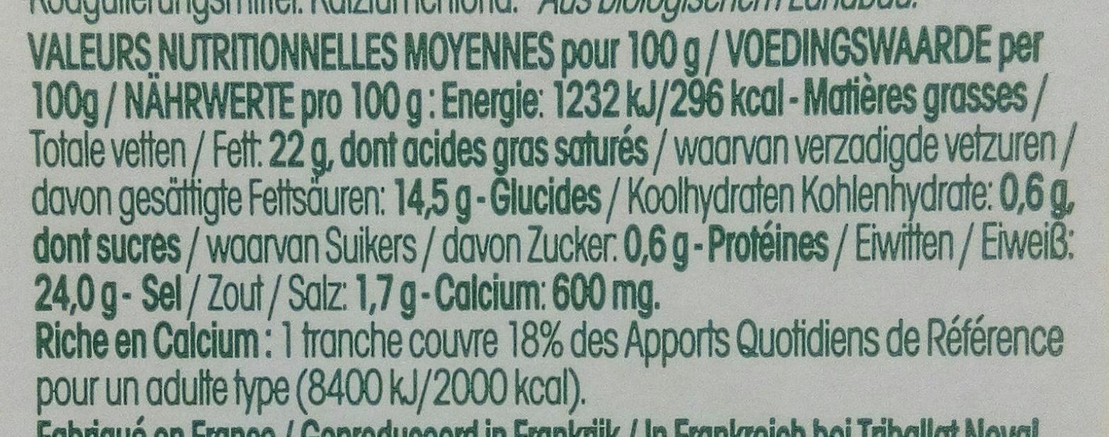 Tranches moelleuses de fromage bio - Voedingswaarden - fr