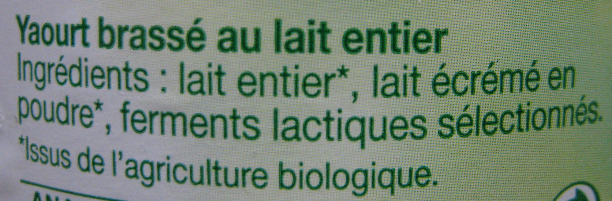 Yaourt brassé nature Bio - Ingredients - fr