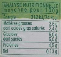 Yaourt brassé nature Bio - Nutrition facts - fr