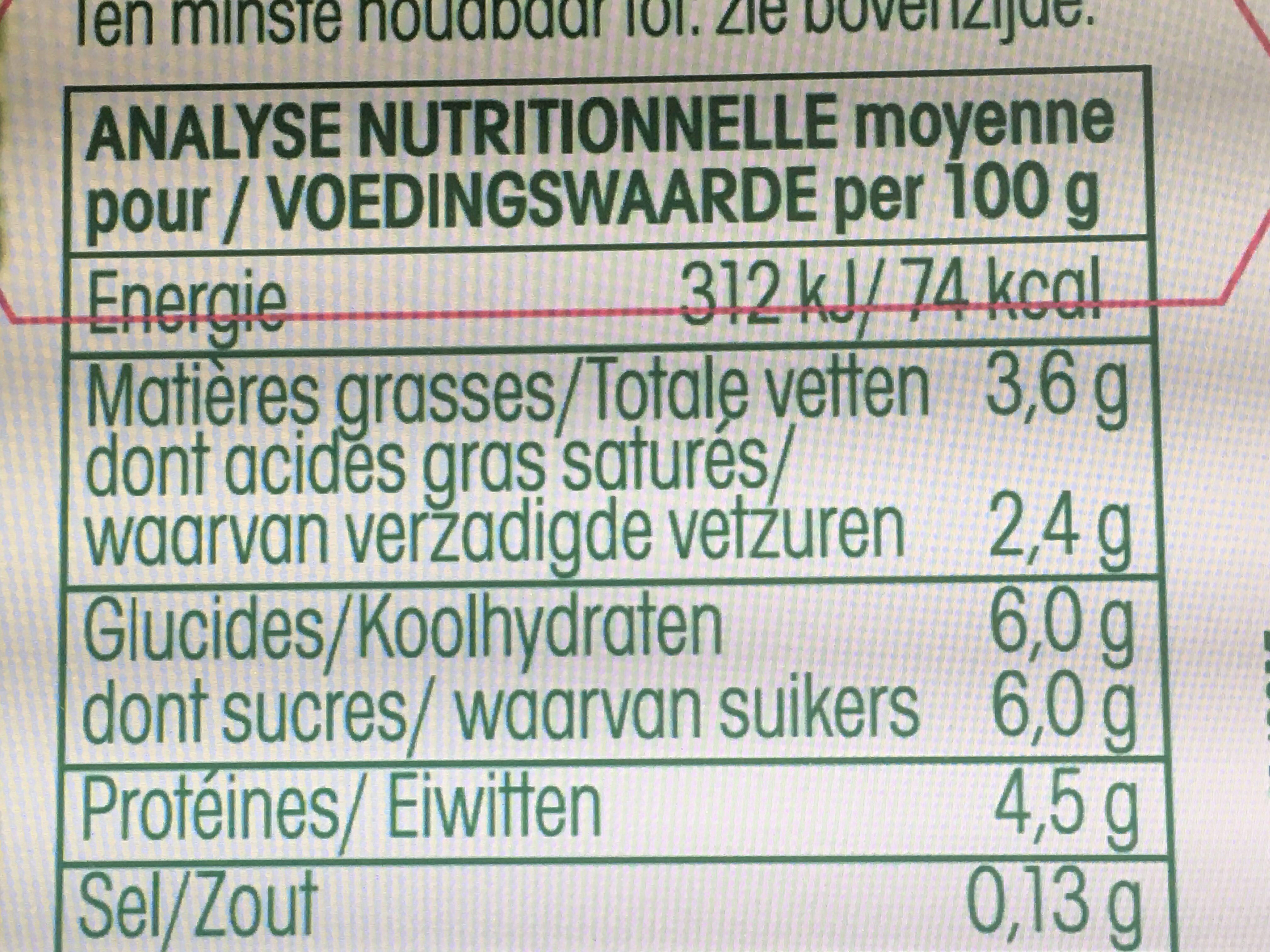 Yaourt brassé Nature - Nutrition facts