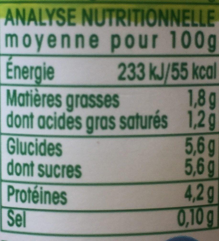 Yaourt Nature 1 / 2 écrémé Bio Vrai - Nutrition facts