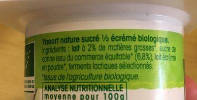 Yaourt Nature 1 / 2 écrémé Sucré Vrai - Ingredients