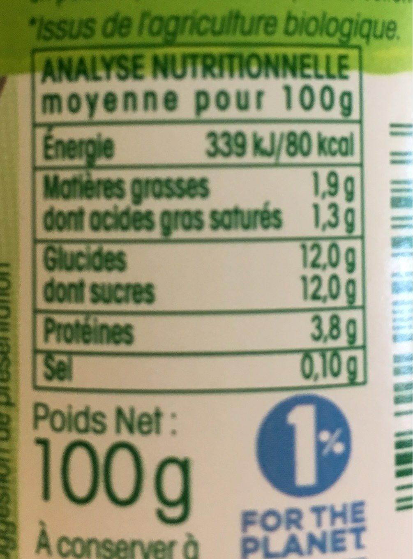 Yaourt Nature 1 / 2 écrémé Sucré Vrai - Nutrition facts