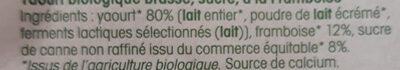 Brassé Framboise - Ingrédients - fr