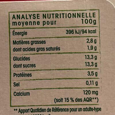 Brassé Framboise - Informations nutritionnelles - fr