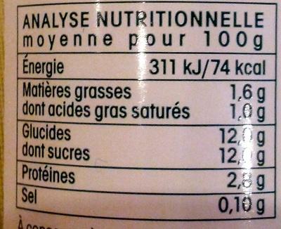Yaourt à boire à la pulpe de framboise et mûre - Voedingswaarden - fr