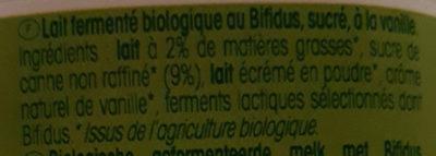 Yaourt arôme naturel Vanille Bio Vrai - Ingrédients - fr