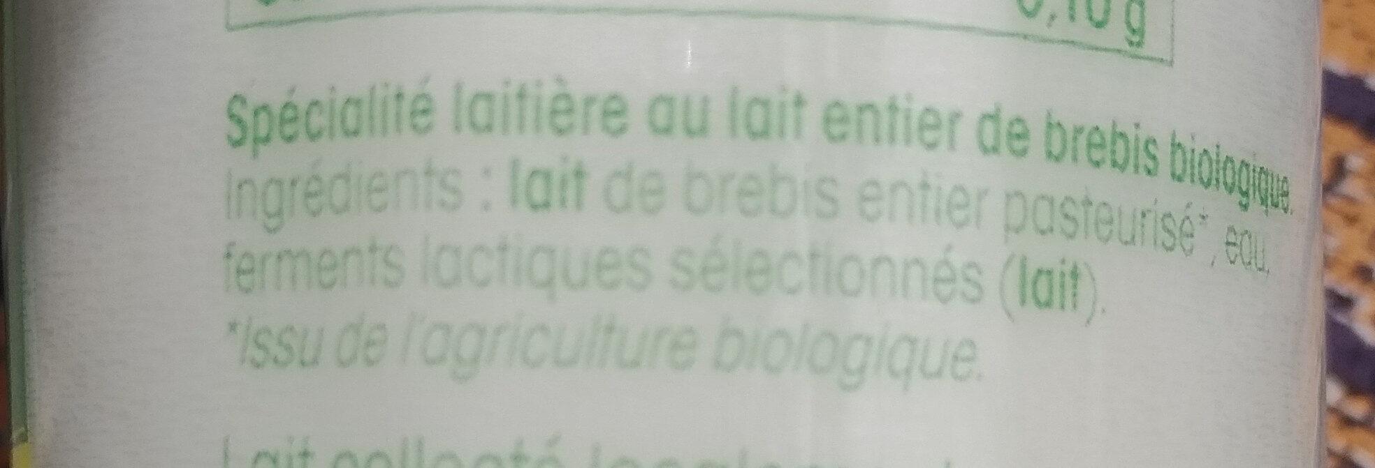 Yaourt nature au lait de brebis biologique - Ingredienti - fr