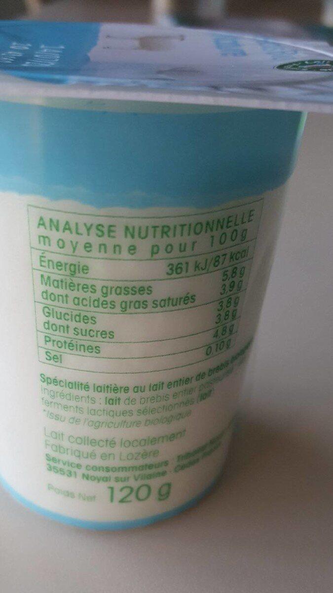 Yaourt nature au lait de brebis biologique - Valori nutrizionali - fr