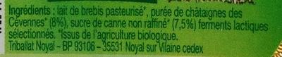 Yaourt bio au lait de brebis Châtaignes des Cévennes - Ingredients